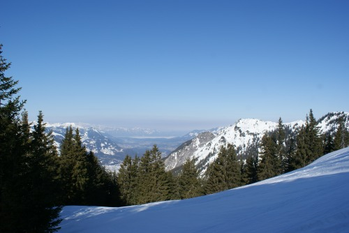 view from the mountain towards the Switzerland